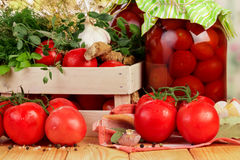 Tomatoes and dill in crate Royalty Free Stock Image