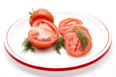Tomatoes with dill on plate Stock Images