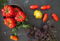 Tomatoes And Dried Thyme Royalty Free Stock Photography