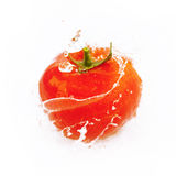 Tomatoes with drops of water isolated on white Royalty Free Stock Photo
