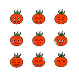 Tomatoes emojicons set with isolated white royalty free illustration