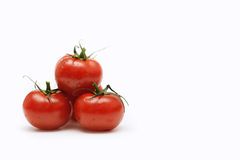 Tomatoes and empty space for text. On white background stock photo