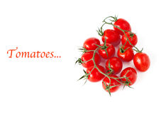 Tomatoes and example text. On white royalty free stock photo