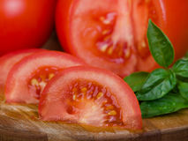 Tomatoes extreme closeup sliced Stock Image