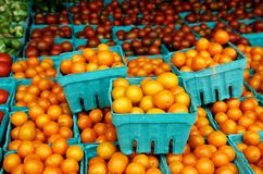 Tomatoes at farm market Royalty Free Stock Photos