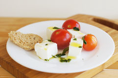 Tomatoes, feta, basil salad Royalty Free Stock Images