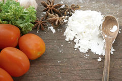 Tomatoes, flour, cinnamon (Food ingredient) Stock Photography