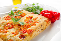 tomatoes focaccia Stock Photography