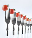 tomatoes and fork Stock Photo
