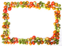 Tomatoes frame. Red ripe tomatoes frame isolated on a white background Royalty Free Stock Photography