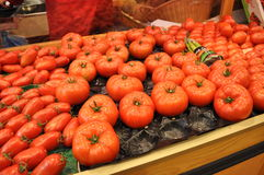 Fresh Tomatoes. For sale at a market stock images