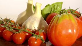 Tomatoes, garlic and basil stock footage