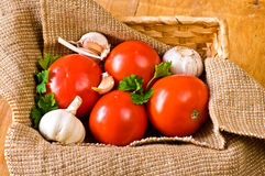 Tomatoes and garlic in basket Royalty Free Stock Photo