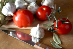 Tomatoes garlic and bay leaf Royalty Free Stock Photography