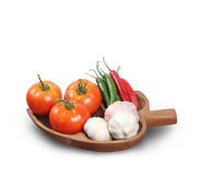 Tomatoes garlic chilli isolated Royalty Free Stock Image