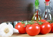 Tomatoes and garlic. Royalty Free Stock Photography