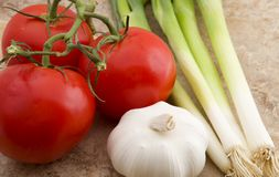 Tomatoes, Garlic & Onions Royalty Free Stock Photo