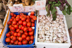 Tomatoes and garlic in a open market . Royalty Free Stock Photo