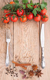 Tomatoes, garlic, parsley and spices on the wooden background with space for text. Stock Photo