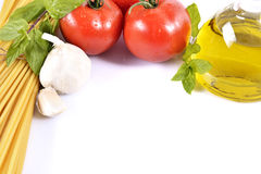 Tomatoes, garlic, pasta and oil Royalty Free Stock Images