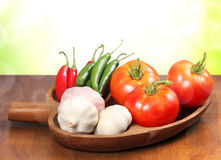 Tomatoes, garlic, and pepper Royalty Free Stock Photo