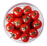 Tomatoes in a glass bowl Stock Photography