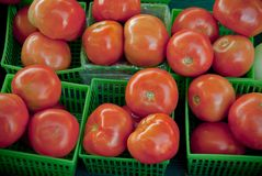 Tomatoes in green baskets in afarmer's market Royalty Free Stock Photos