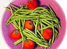 Tomatoes and Green beans. Tomatoes with fresh raw green beans Royalty Free Stock Photo