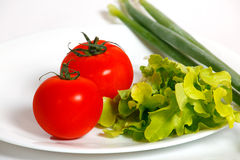Tomatoes and green onion on a white plate Stock Photography