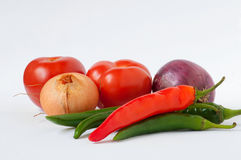 Tomatoes,green and red pepper, onion Royalty Free Stock Images
