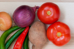 Tomatoes,green and red pepper, onion, potato Royalty Free Stock Photo