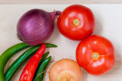 Tomatoes,green and red pepper, onion, potato Stock Photos