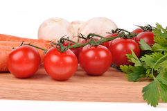 Tomatoes green salad carrot mushrooms Stock Photo