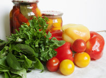 Tomatoes, greens and peppers Stock Images