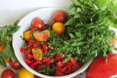 Tomatoes and greens Stock Photos