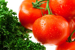 Tomatoes and greens with water drops in a glass Royalty Free Stock Image