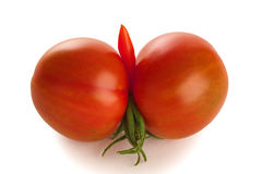 Tomatoes Grown in Phallic-like Form on White Stock Photography