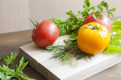 Tomatoes and herbs. Tomatoes, fresh herbs and spices stock photo