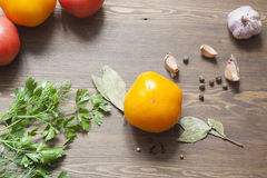 Tomatoes and herbs. Tomatoes, fresh herbs and spices stock photography