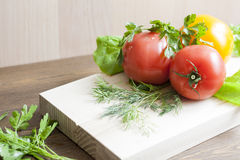 Tomatoes and herbs. Tomatoes, fresh herbs and spices stock photos