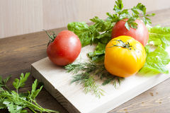 Tomatoes and herbs. Tomatoes, fresh herbs and spices royalty free stock images