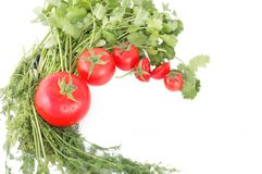 Tomatoes and herbs for healthy food Royalty Free Stock Image