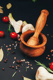 Tomatoes, herbs, spices and mortar on black Royalty Free Stock Photos