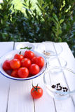 Tomatoes with ingredients in bowl Stock Photography