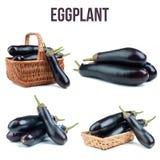 Tomatoes isolated. Eggplant isolated on white background Stock Photo