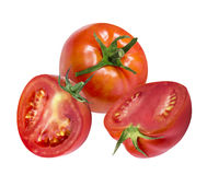 Tomatoes isolated on white Stock Images