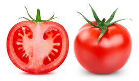 Tomatoes isolated on white. Tomatoes isolated on the white background. Tomatoes Clipping Path. Collection Set royalty free stock photos