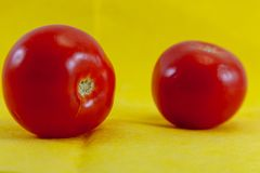 Tomatoes isolated on yellow background stock photo