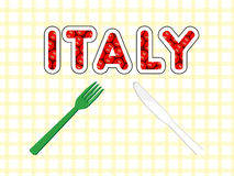 Tomatoes of italy. Composed of tomato knife and fork national Italian colors Royalty Free Stock Photo