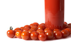 Tomatoes and juice Stock Images